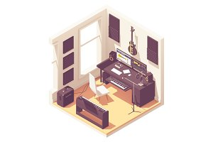 Isometric home recording studio
