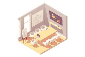 Vector isometric conference room