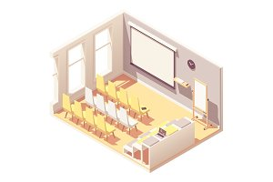 Vector isometric presentation room