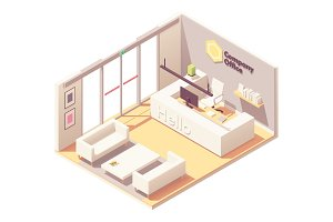 Vector isometric office reception