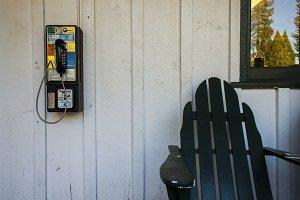 Adirondack and payphone in Yosemite