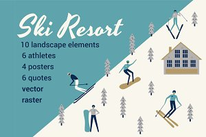 SKI RESORT WINTER SPORT SET