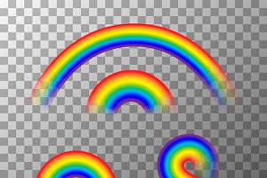 Set of cute different rainbows