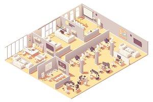 Vector isometric office interior