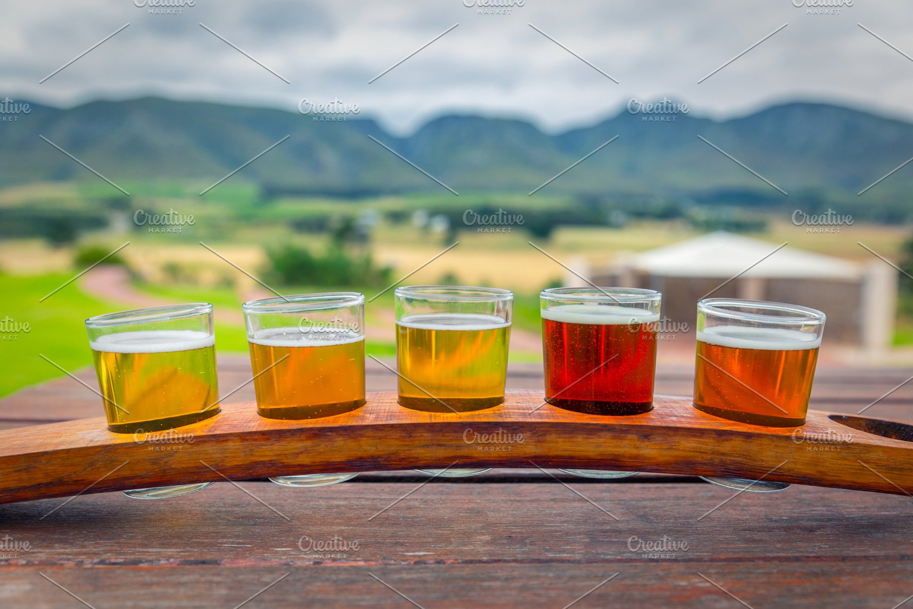 Beer Tasting Glasses On Wooden Tray