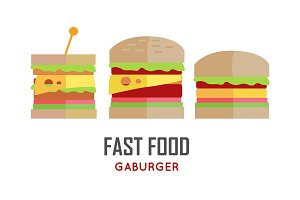 Fast Food Hamburger Vector Concept