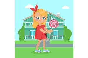 Girl Holds Lollipop in Hands in