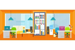 Office Interior Background in Flat