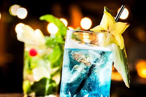 Tropical blue cocktail