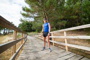Runner man in a promenade