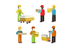 Peope Workers in Warehouse Interior