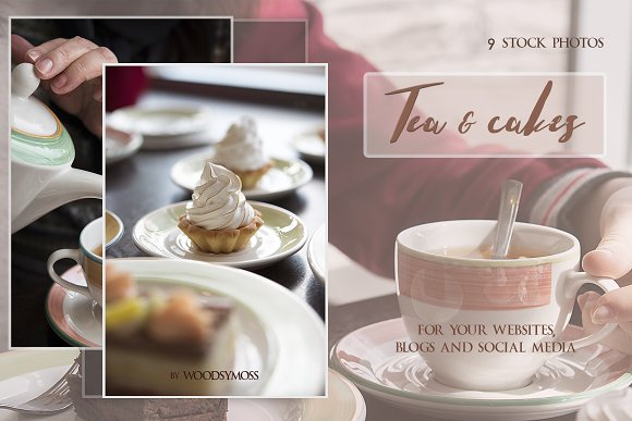 Tea & Cakes - Stock Photos in Social Media Templates - product preview 4