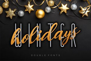 Winter Holidays double font set