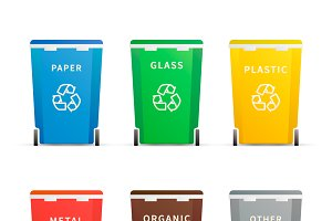 Different colourful trash containers