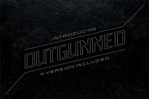 Outgunned display font in 4 versions