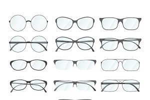 Set of different rim glasses