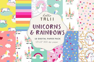 Unicorns & Rainbows Digital Paper