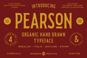 Pearson Typeface- 4 Fonts! (+EXTRA)