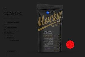 Black Stand-Up Pouch Mockup