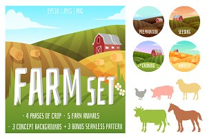 Farm set of animals and landscapes