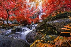Khlong Lan waterfall is a beautiful
