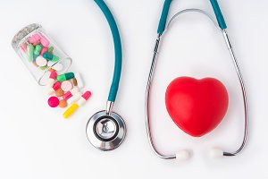 stethoscope and drug pill for doctor
