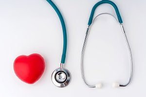 Red heart and stethoscope for doctor