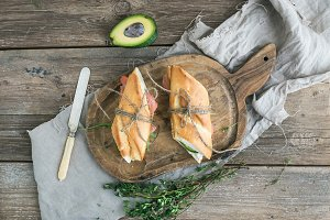 Salmon and avocado sandwiches