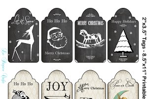 Chalkboard & Damask Christmas Tags