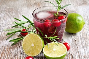 Cranberry drink with rosemary