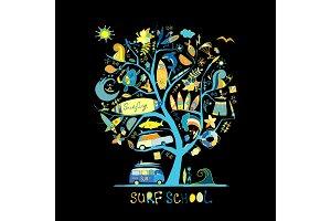 Art tree with surfing design