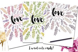Love and leaves Cards