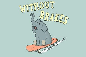 elephant  rides on skateboard