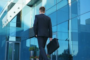 Young businessman commuting to work