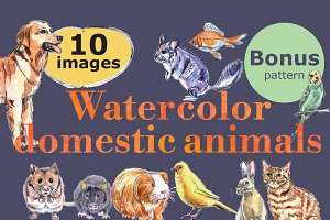 Watercolor vector domestic animals