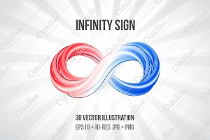Infinity sign 3d vector illustration