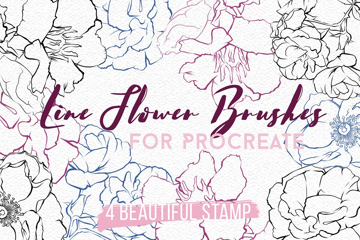 4 Flower Stamps - Procreate Brushes