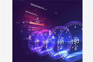 Abstract car speedometer HUD