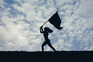 Woman Running with Flag