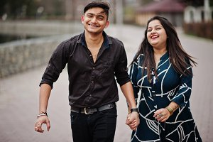 Love story of indian couple posed ou