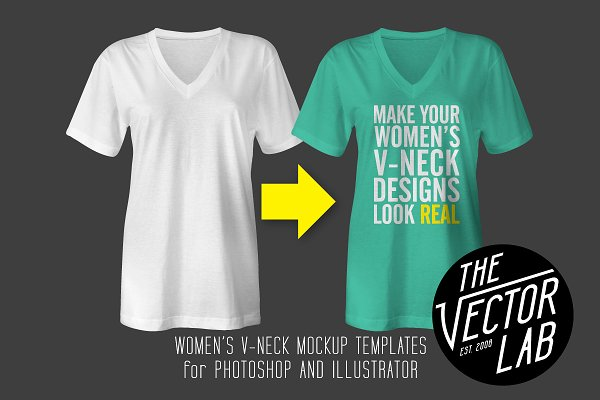 Women's V-Neck Mockup Templates