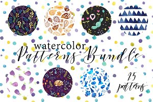 Watercolor patterns bundle