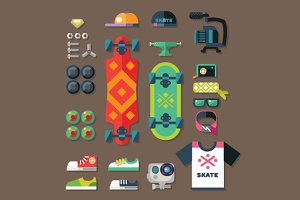 Skateboarder set