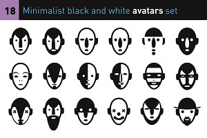 Minimalist black &white avatars set