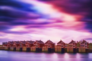 8-bit lo-fi Norway Lofoten cottages