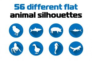 56 Animal Silhouettes Icon Set