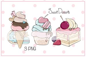 "Illustrations ""Sweet Desserts"" Pink"
