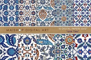 Digital Paper - Iznik Tiles