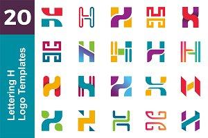 20 Logo Lettering H Template Bundle