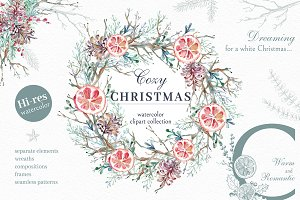 Cozy CHRISTMAS. Watercolor graphic k